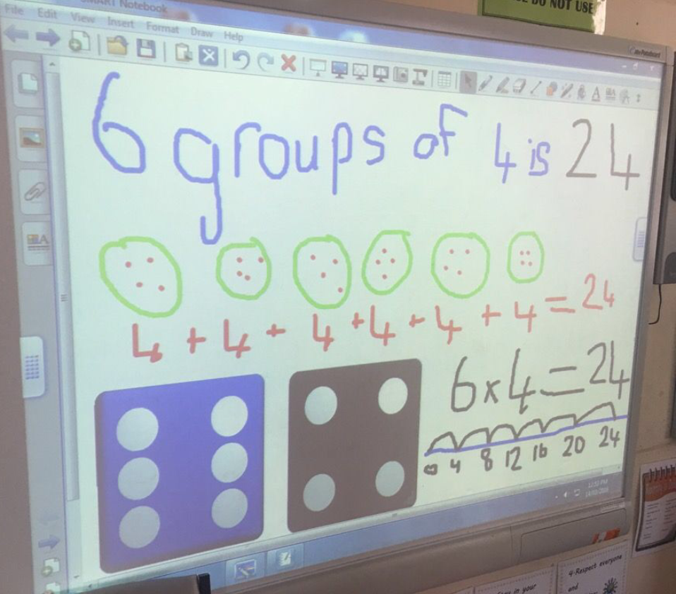 2 Purple are using the IWB to make equal groups.